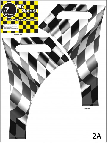 Waving Checkered Flag Fender Wrap-R53